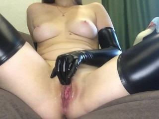 From Dry Pussy To Wet ORGASM: LATEX Masturbation