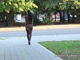 Public flash in stockings