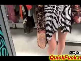 hot Petite teen solo in a dressing room
