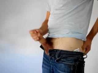 Masturbating in jeans – Solo male teasing uncut cock till cumming