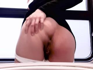 Girl PISSING on a Train ( Masturbation in a Public Toilet )❤MollyRedWolf