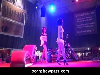 Brunette Lesbians On Live Stage