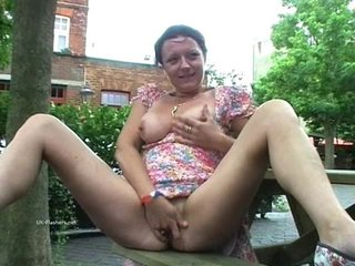 Filthy Shaz flashes and squirts in public