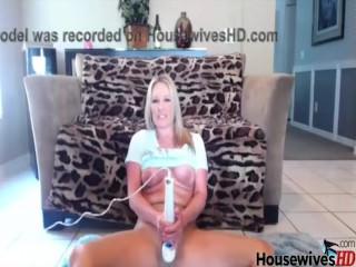 Blonde housewife in pantyhose with hitachi