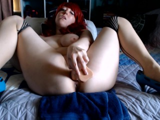 Redhead Dildo Fuck With Huge Squirt