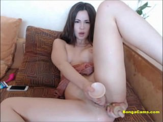 Sexy slut double penetrated herself with toys