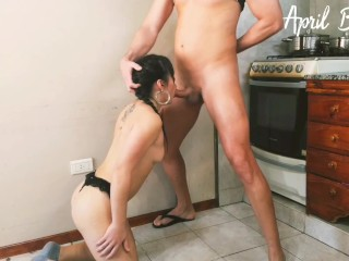 Drinking his pee & mine,deep throat until regurgitate all,fuck ass while licking the floor cum face!