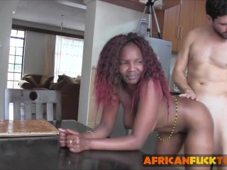 Horny white man seduces and fucks young African cutie Sakira