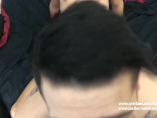 Milking his dick and creampie his hole