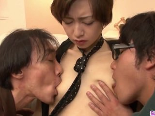 Akina Hara gets two men to fuck her hard