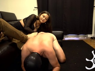 Foot cuck serves wife and master