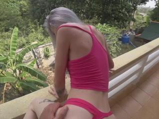 Fucked a young bitch on the balcony. All neighbors heard moans. POV.