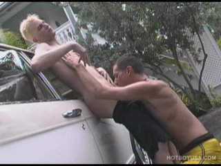 Hung Twinks Wash Car, suck Dick and Fuck