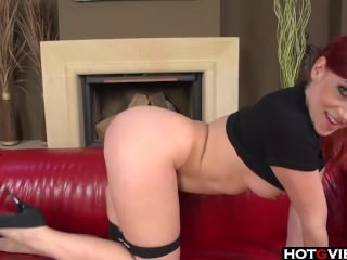 Red hair freak plays with herself on couch