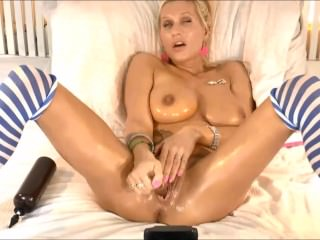 Hot Blonde Doing Solo with Vibrator and Dildo!