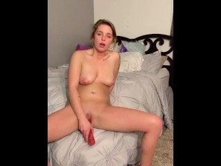 Horny babe shoves 10 inch dildo into her pussy & she loves it.