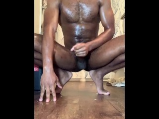Oiled Up Curtis Blvck strokes his his BBC until HUGE LOAD