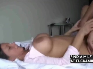 stunning milf with big tits likes doggystyle