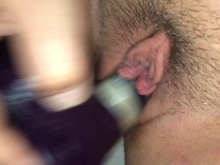 Quiet moans with purple dildo