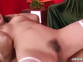 Delicious Megumi Haruka in sexy stockings banged hard by two