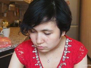 Cute girl in a red dress