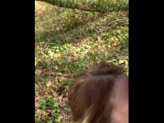 Naughty Girl in The Forest Sucking a Stranger. People around. Cum Face