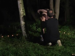 Wax and bath in the woods bondage slave submissive to bdsm fuck
