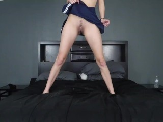 Cute School Girl Pees on Bed 3 Times