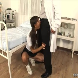 Sexy brunette babe sucks the doctors cock