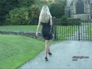 Sexy blonde Kathryn gets out car in high heels to finish you off at shoes