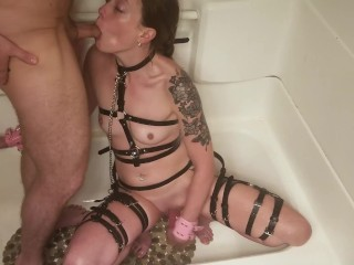 Little Rose dildo fucks herself while Daddy pisses all over her