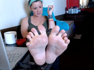 Kicked My Feet Up in The Morning Wrinkled Mature Soles