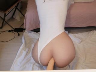 Milky dildo ass fuck with anal slut Evie Davis (milk enema)