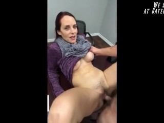 Sexy hairy busty MILF fucked on the table