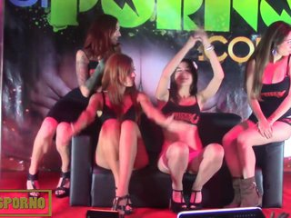 Spanish pornstars orgy farewell on stage