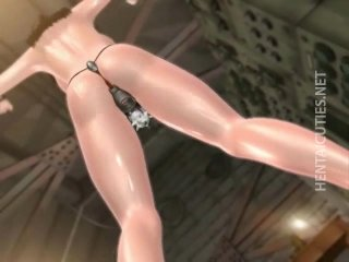Slutty 3D anime chick gets double toyed