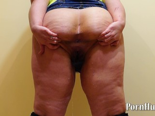fat girl with hairy by a pussy, pissing standing