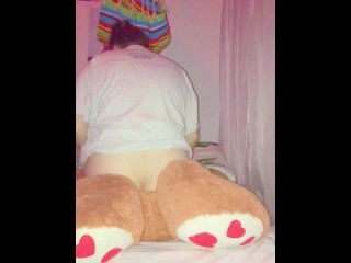 Very high girl fucking her teddy bear cums 3 times