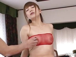 Maomi Nakazawa in red lingerie has her pussy punished on a