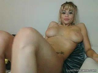 Busty blonde babe teasing on webcam