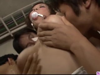 Big boobs Japanese Ren Mizumori cum on face in group scenes