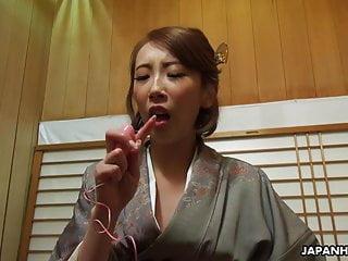 Japanese housewife in a kimono, Aya Kisaki is masturbating,