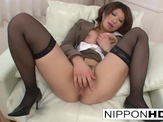Busty Asian babe fingers her tight pussy