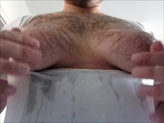 soap jizz on my fat manboobs