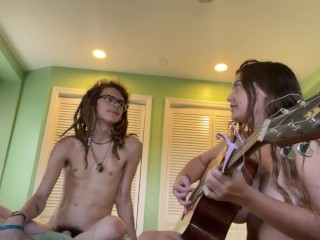 naked and serenading him with a love song