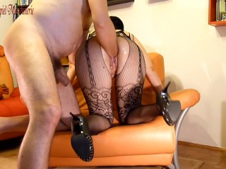 Painful fisting slut in high heels and black fishnet