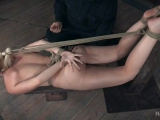 Blonde girl bound for caning