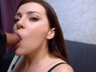 Blowjob from a beautiful girl in black gloves/ 4k