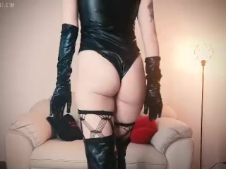 mistress in thigh high leather boots and gloves joi