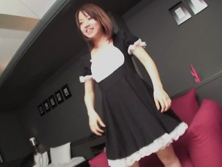 Subtitles uncensored Japanese maid POV blowjob HD